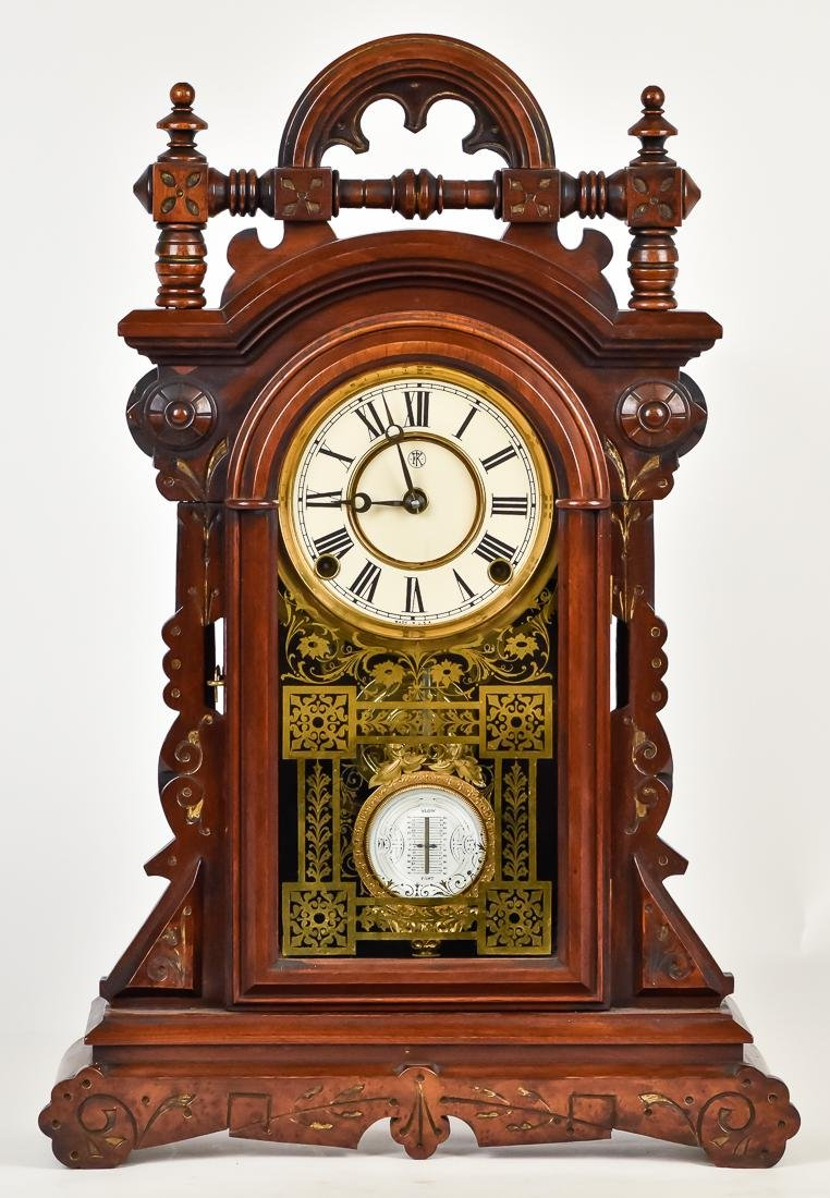 F. Kroeber Walnut Shelf Clock