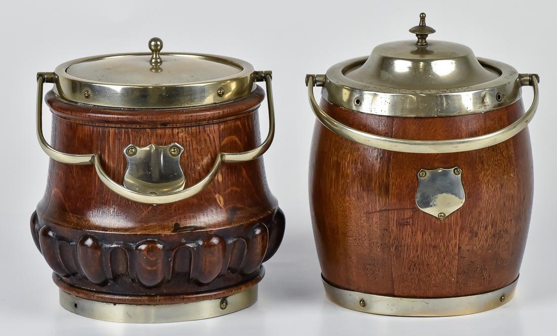Two Oak Biscuit Jars