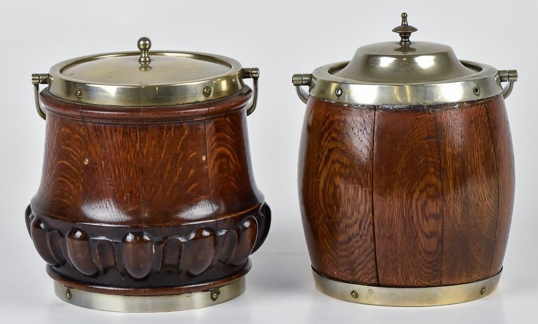 Two Oak Biscuit Jars - 2