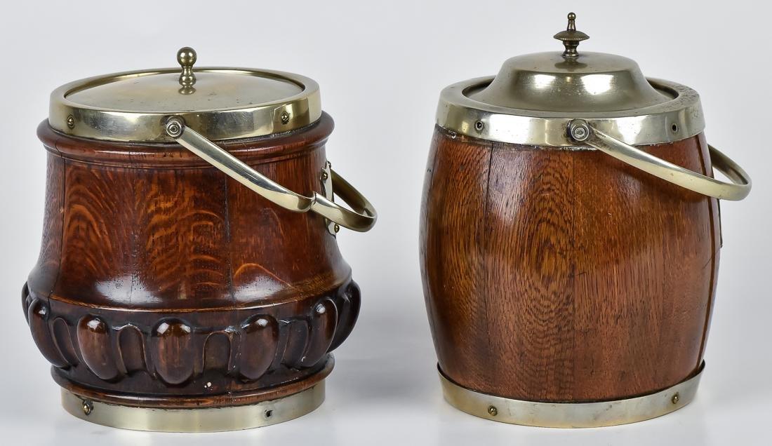 Two Oak Biscuit Jars - 3