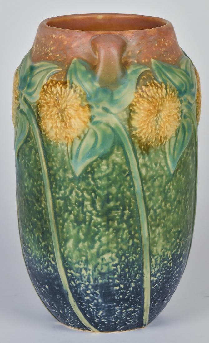 Large Roseville Sunflower Vase - 4