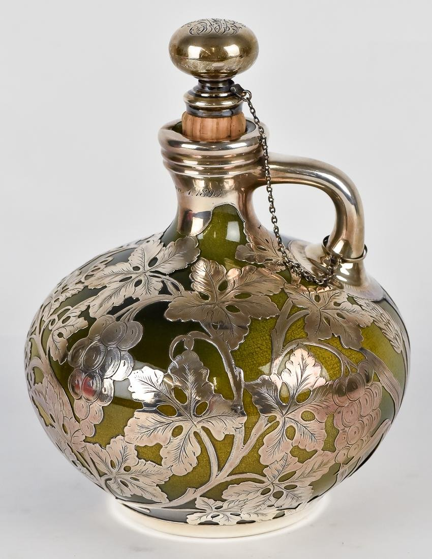Rookwood Silver Overlay Whiskey Decanter