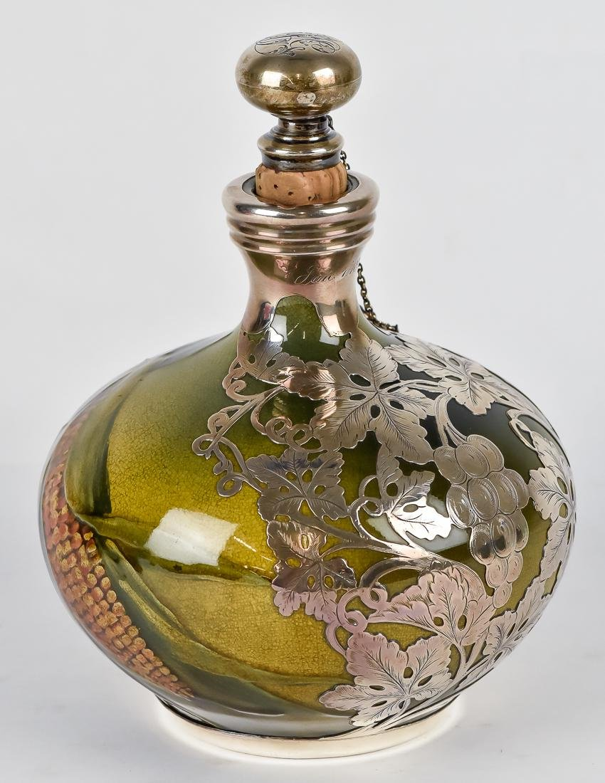 Rookwood Silver Overlay Whiskey Decanter - 3