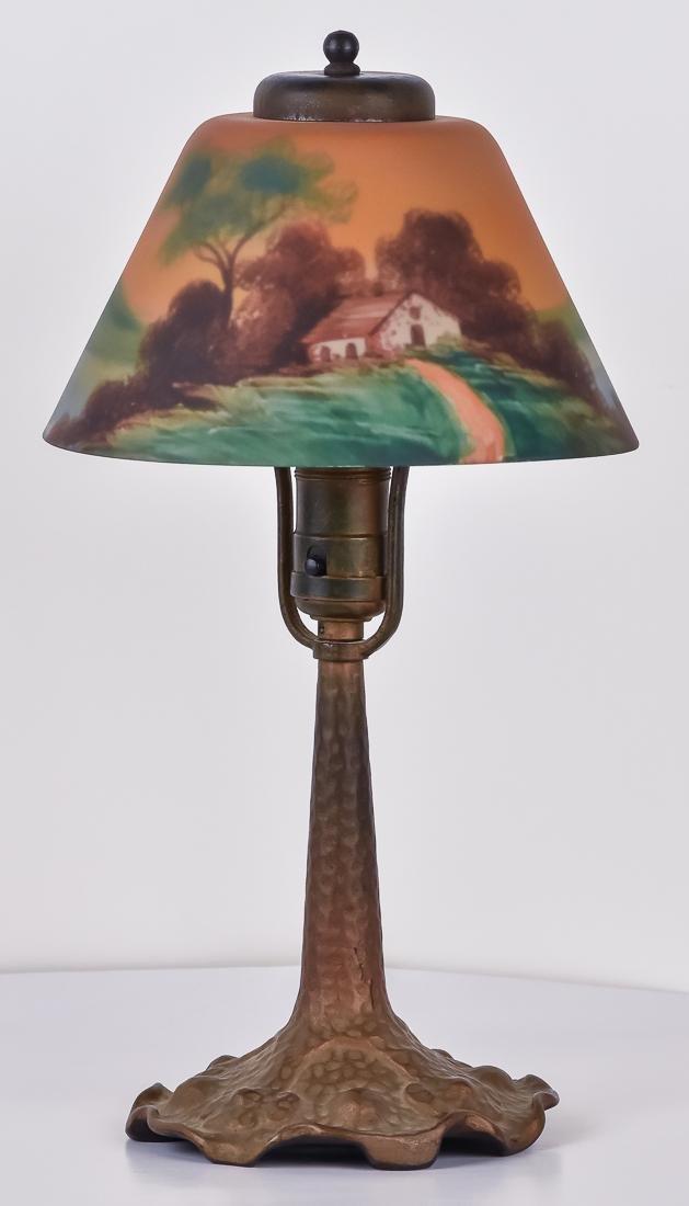 Arts & Crafts Reverse Painted Boudoir Lamp