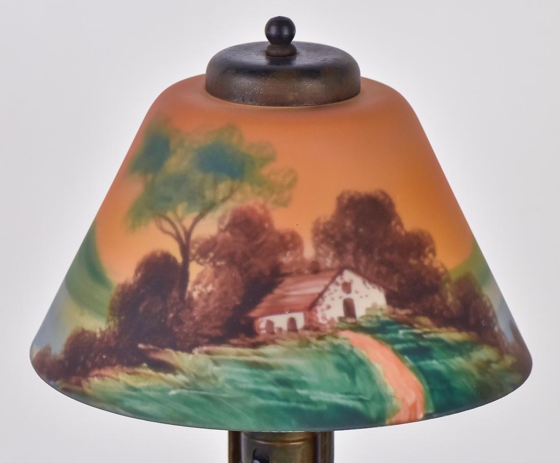 Arts & Crafts Reverse Painted Boudoir Lamp - 2