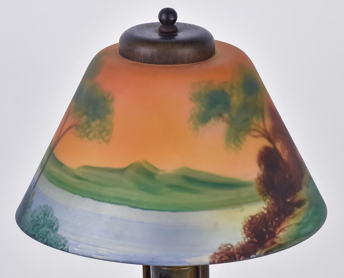 Arts & Crafts Reverse Painted Boudoir Lamp - 4