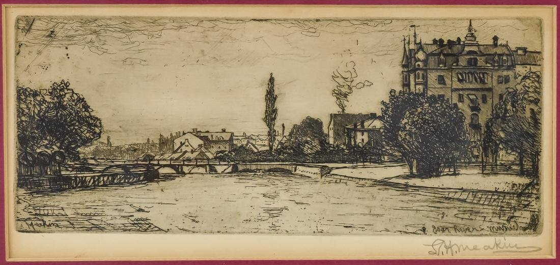 L.H. Meakin Signed Etching - 2