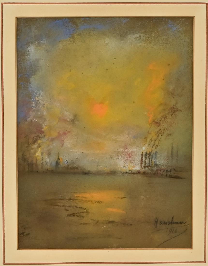 Glen C. Henshaw Pastel Industrial Landscape - 2