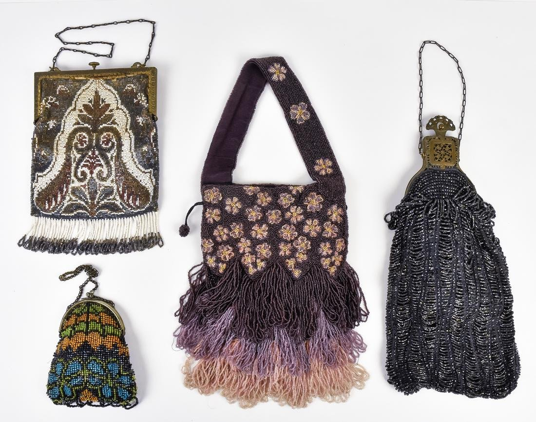 Four Early Ladies Beaded Evening Bags