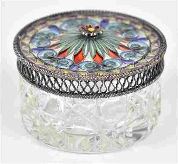 Plique Du Jour & Cut Glass Dresser Box