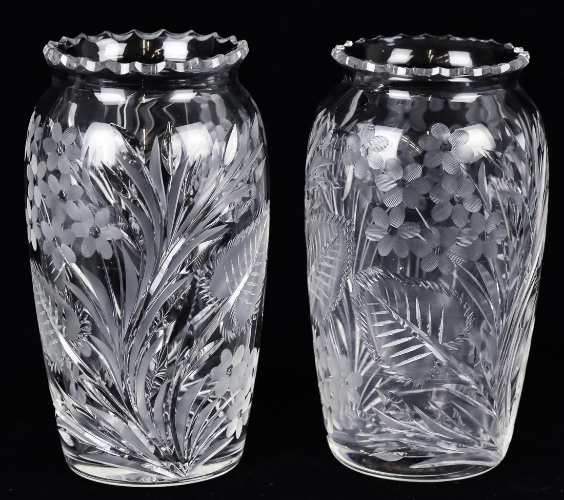 Pair Cut Glass Vases