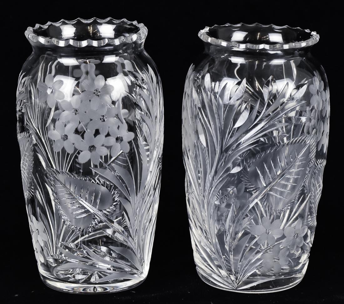 Pair Cut Glass Vases - 2