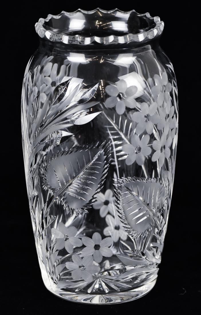 Pair Cut Glass Vases - 5