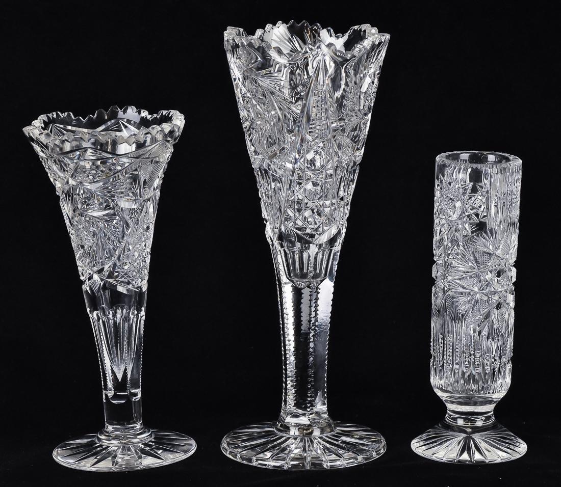 Three Cut Glass Vases