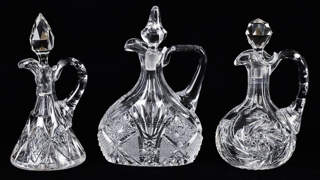 Three Cut Glass Cruets