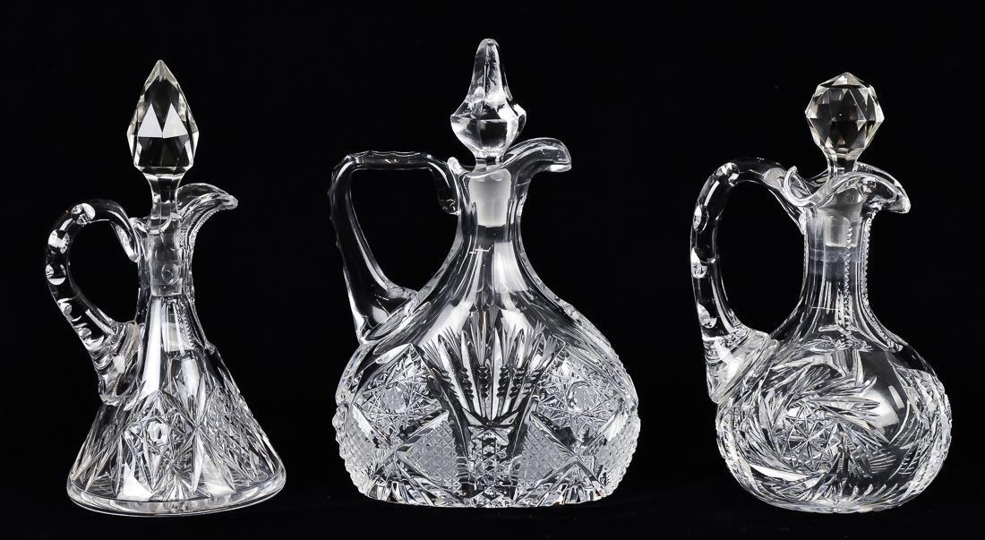 Three Cut Glass Cruets - 2
