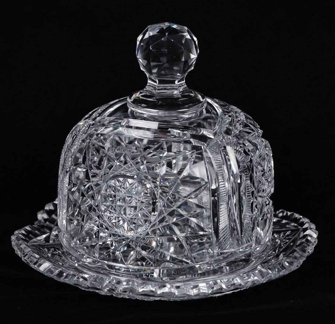 American Cut Glass Covered Butter Dish