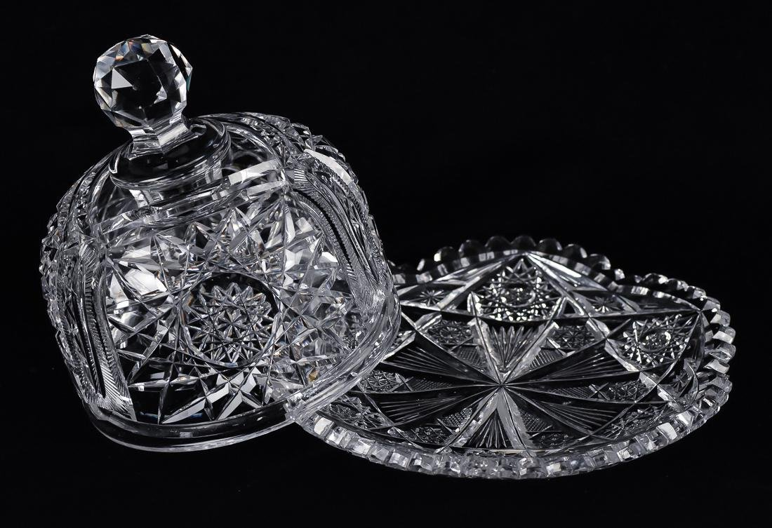 American Cut Glass Covered Butter Dish - 2