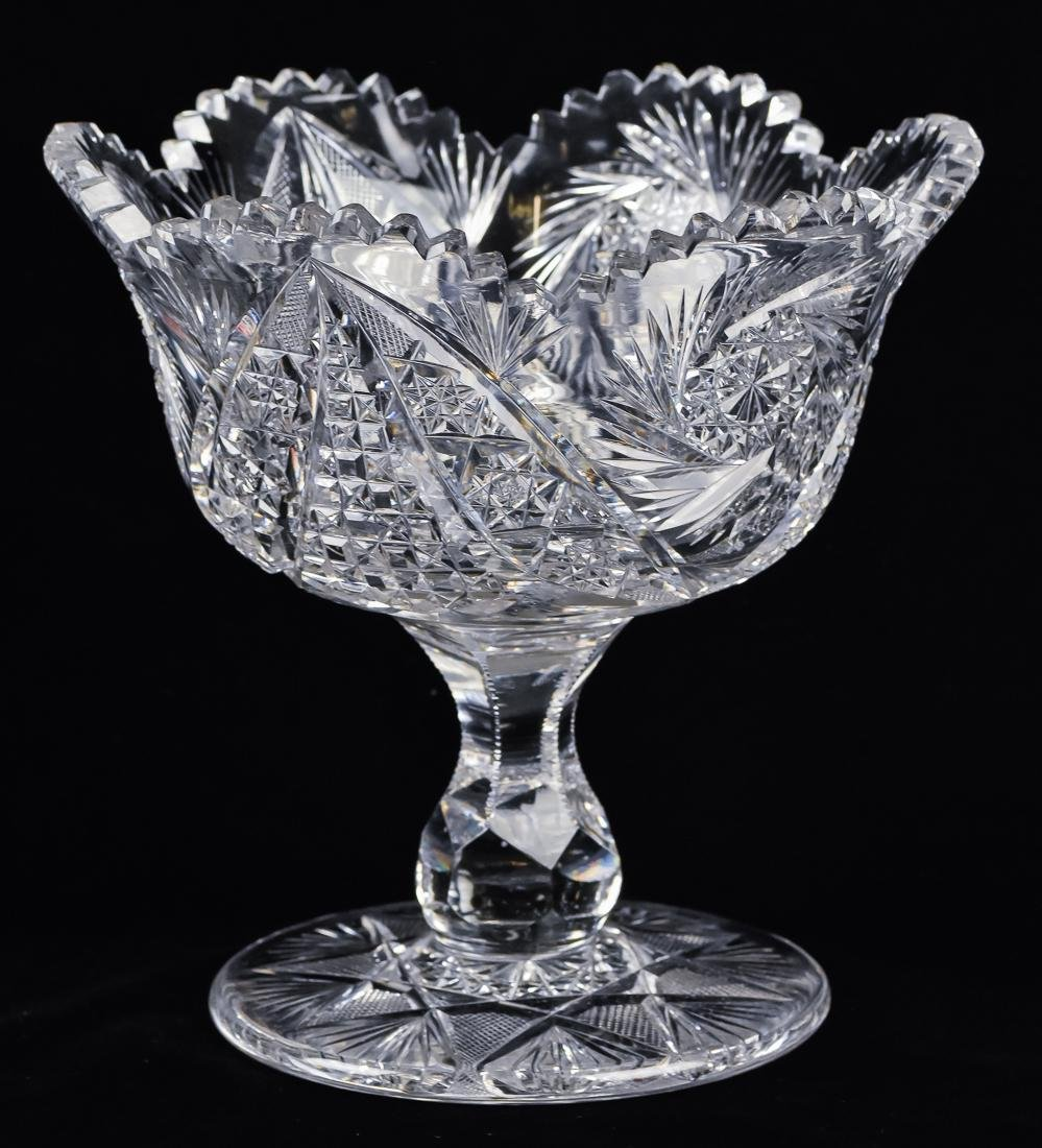 American Cut Glass Footed Bowl