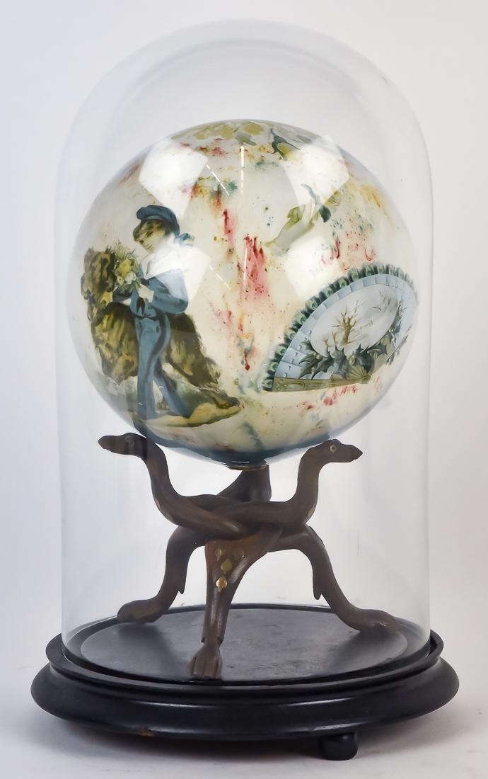 Victorian Hand Blown Decoupage Sphere under Dome