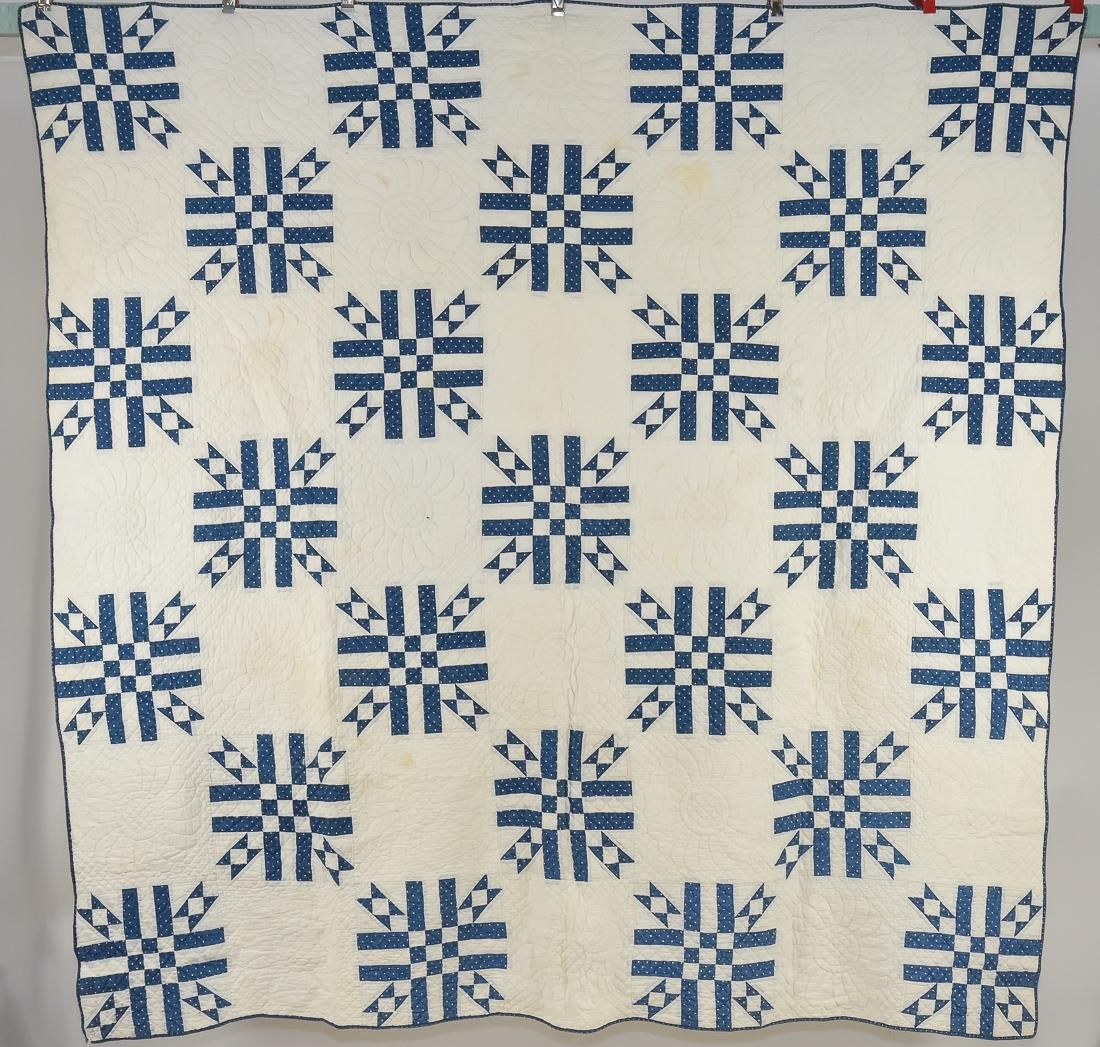 Early Blue & White Pieced Quilt