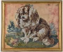Victorian Beaded Needlework Picture of Spaniel