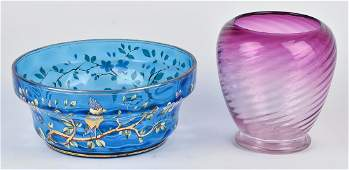 Two Peices of Victorian Art Glass