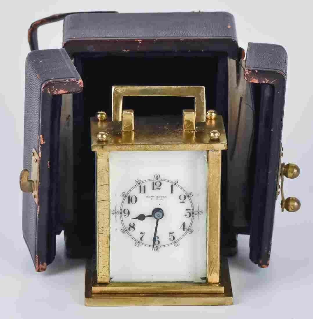 Miniature Cased New Haven Travel Clock
