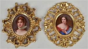 Two Miniatures on Porcelain