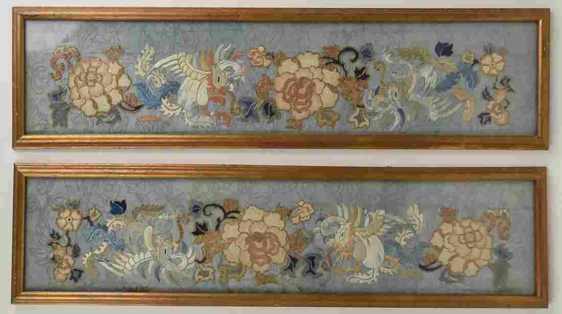 Pair Early Chinese Silk Embroidered Panels