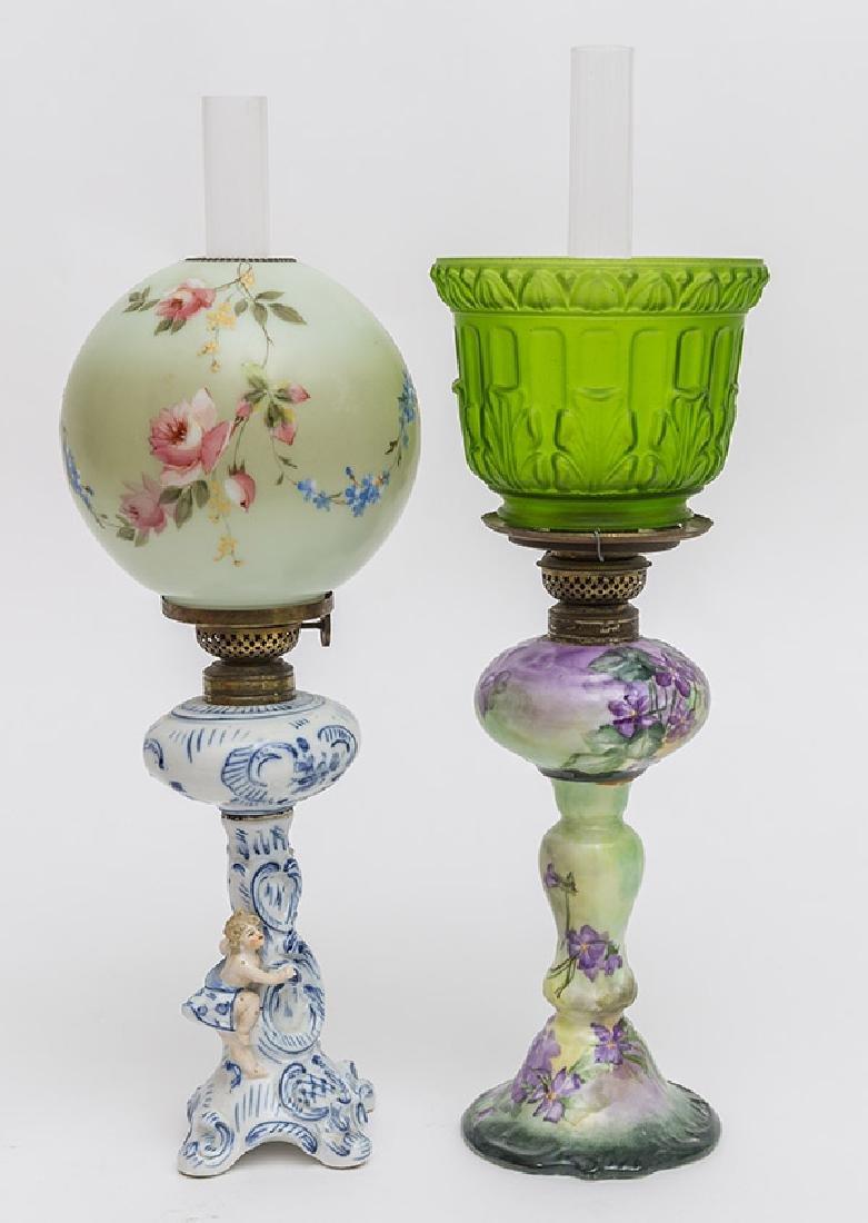 Two Victorian Porcelain Oil Lamps