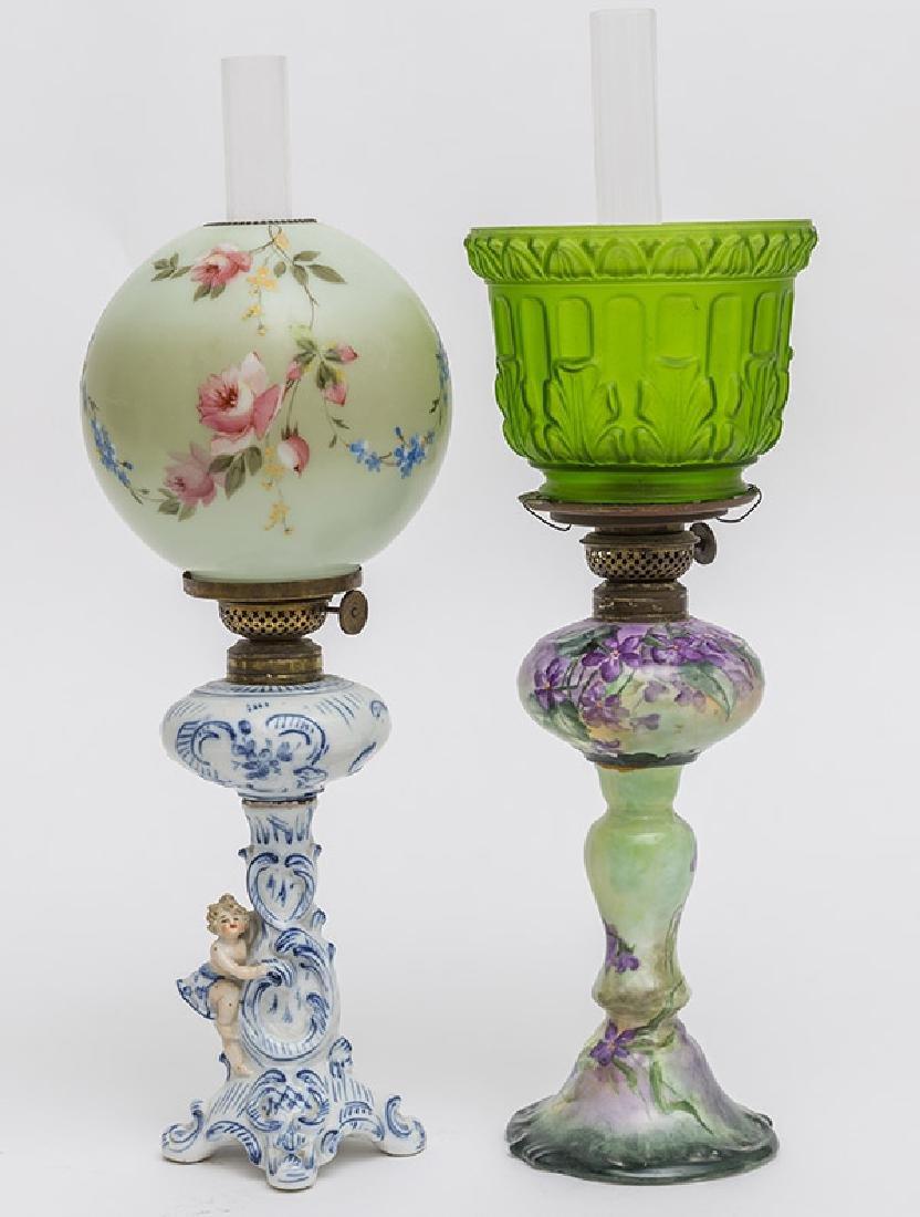 Two Victorian Porcelain Oil Lamps - 5
