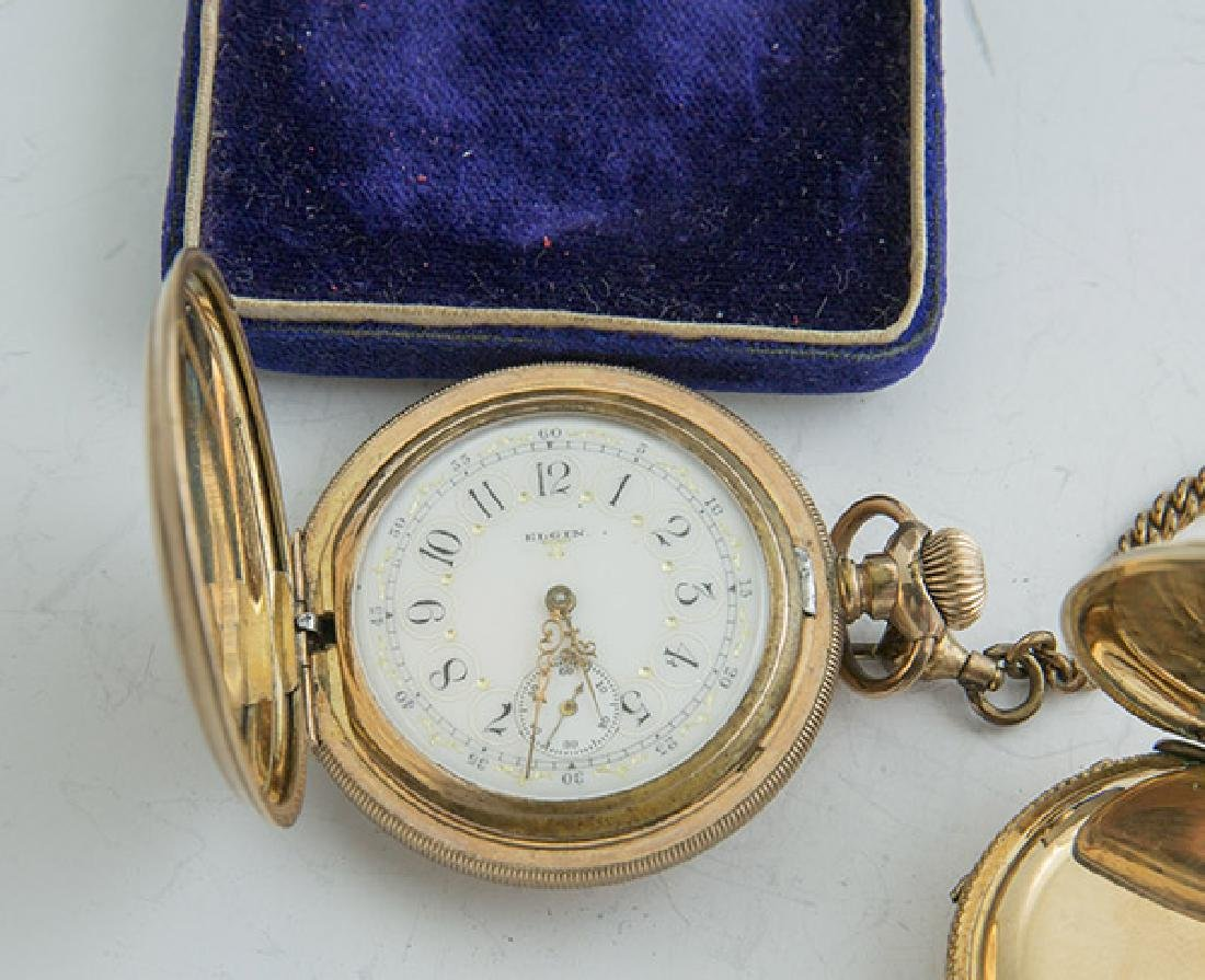 Two Elgin 6 Size Hunter Case Pocket Watches - 5
