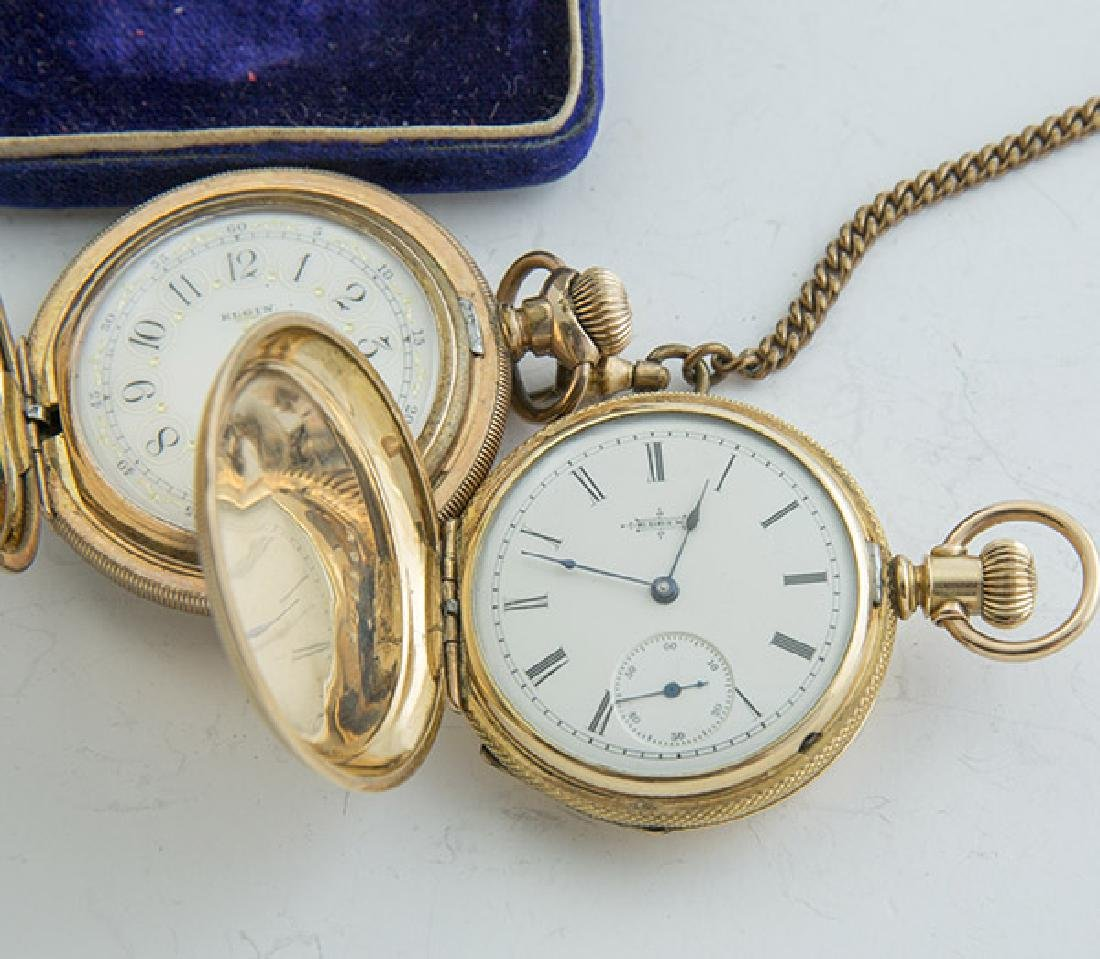 Two Elgin 6 Size Hunter Case Pocket Watches - 6