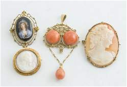 Victorian 10k Gold Mounted Cameos Coral Plus