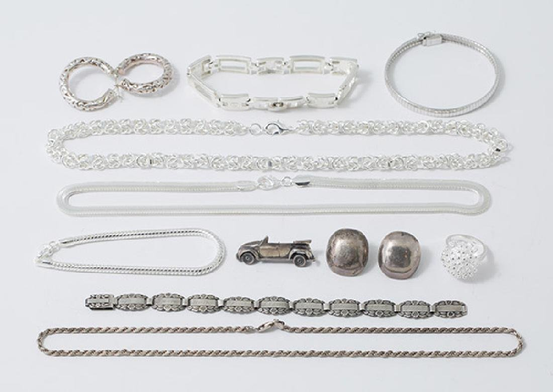 Eleven Pieces Sterling Jewelry