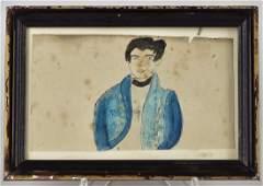 Miniature Folk Art Portrait