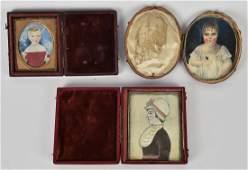 Three Miniature Folk Art Portraits