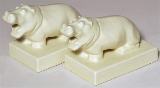 164: Rookwood 1933 Hippopotamus Bookends