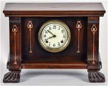 Harvey Ellis Design Copper & Pewter  Inlaid Clock
