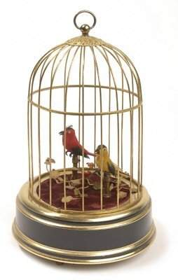 17: TWO SINGING BIRDS IN CAGE