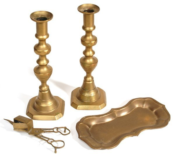 4: PR. OF EARLY BRASS CANDLESTICKS, SNUFFERS, AND TRAY