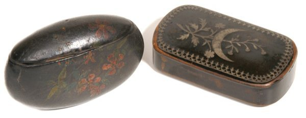 6: TWO EARLY PAPER MACHE SNUFF BOXES