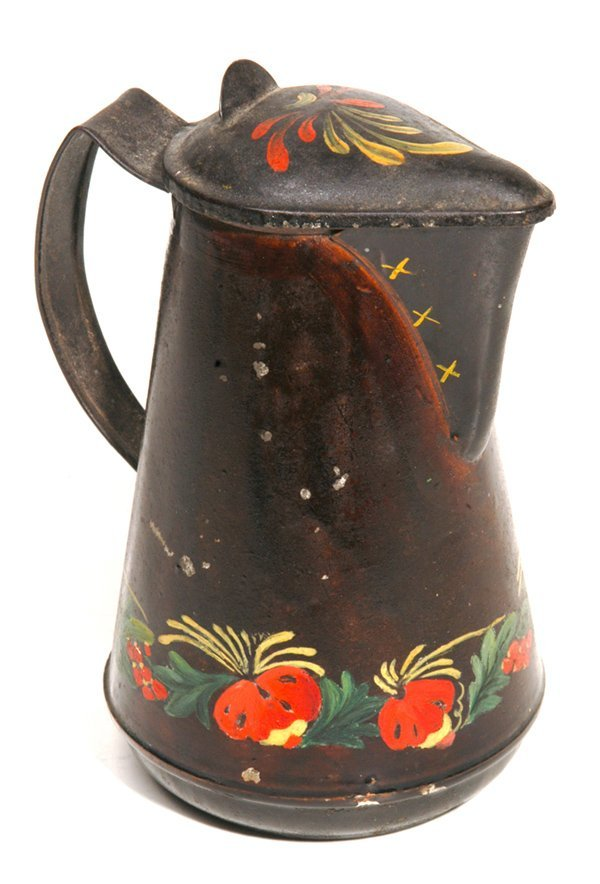 10: EARLY DECORATED TOLEWARE PITCHER