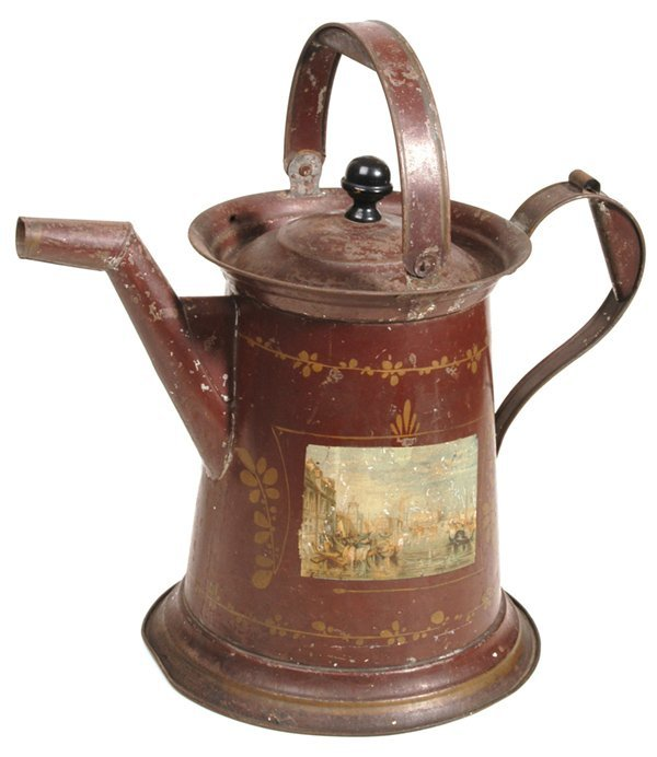 11: LARGE DECORATED TOLEWARE COFFEE POT