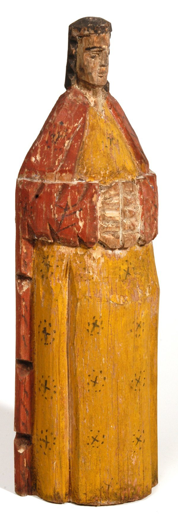 14: EARLY WOODEN CARVED RELIGIOUS FIGURE