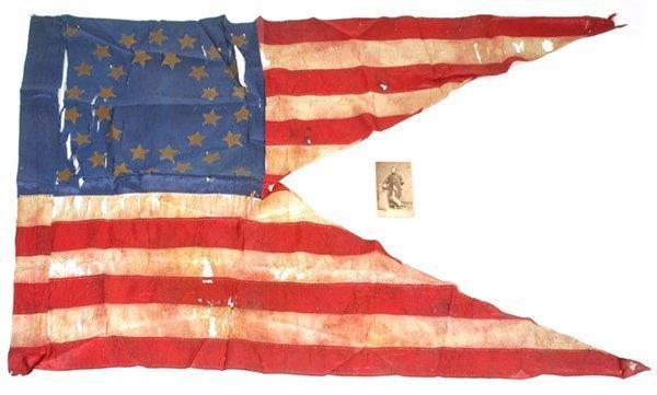 78: CIVIL WAR ERA SILK GUIDON 34 STAR FLAG & CDV