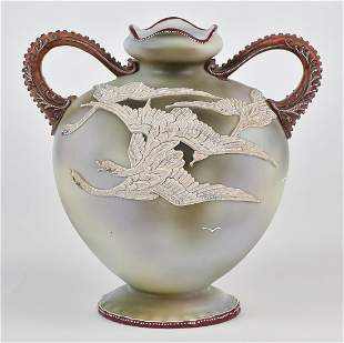 Nippon Vase with Moriage Flying Geese