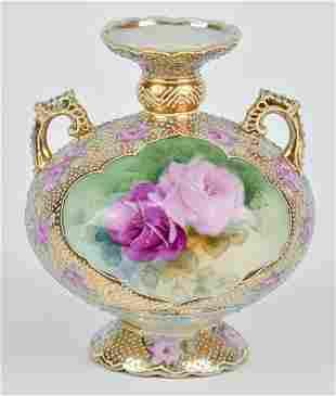 Nippon Vase with Beadwork