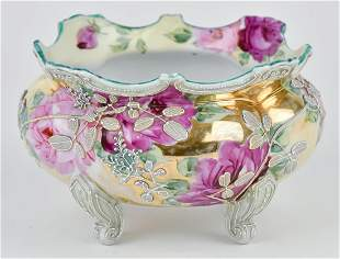 Nippon Footed Bowl with Moriage Decoration